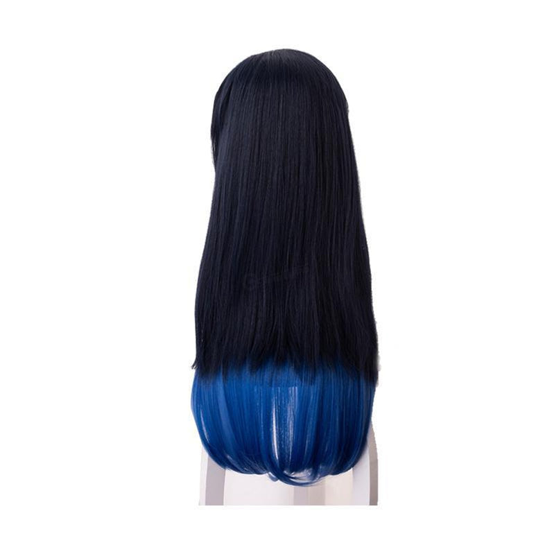 Anime Demon Slayer Kimetsu no Yaiba Hashibira Inosuke Blue Gradient Color Cosplay Wigs - Cosplay Clans