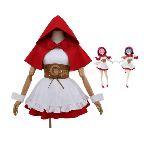 Anime Re:Zero Starting Life in Another World Rem and Ram Little Red Riding Hood Cosplay Costume - Cosplay Clans