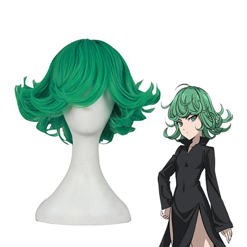 Anime One Punch Man Terrible Tornado Short Green Curly Cosplay Wigs - Cosplay Clans