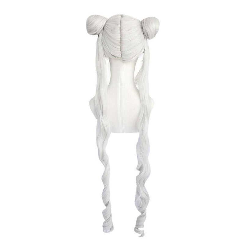 Anime Sailor Moon Tsukino Usagi Long Straight Double Braids Silver Grey Cosplay Wigs - Cosplay Clans