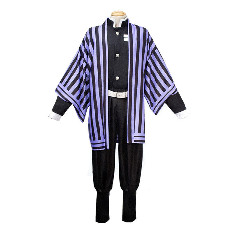 Anime Demon Slayer Kimetsu no Yaiba Iguro Obanai Kimono Black White Halloween Cosplay Costumes - Cosplay Clans