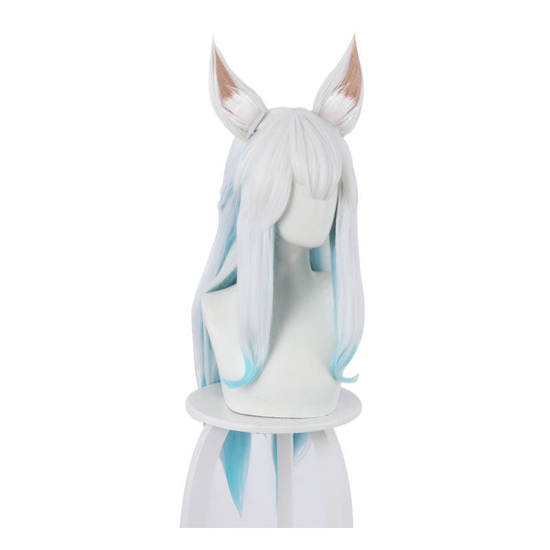 Game LOL Spirit Blossom Ahri White Blue Long Straight Cosplay Wigs - Cosplay Clans