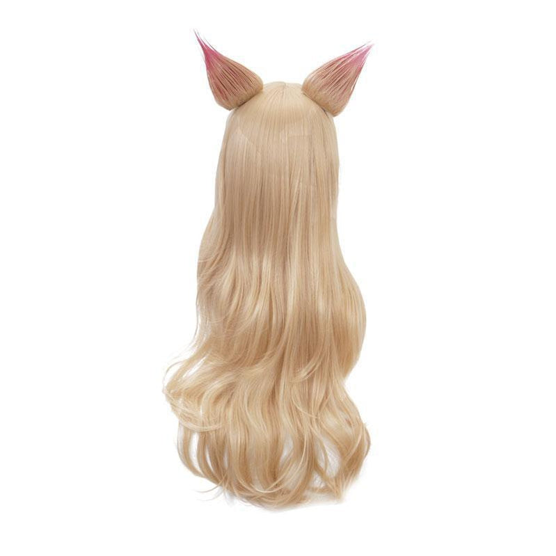 LOL KDA Nine-Tailed Fox Ahri Long Straight Blonde Cosplay Wigs With Ears - Cosplay Clans