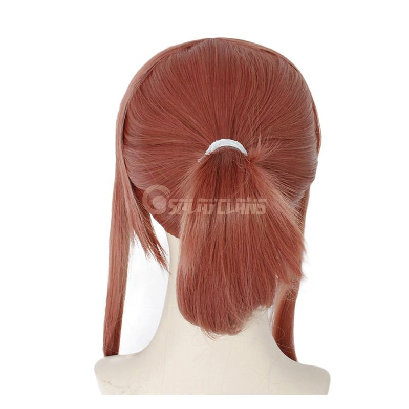 DDLC Monika Super Long Deep Pink Straight Synthetic Cosplay Wigs with Ponytail - Cosplay Clans