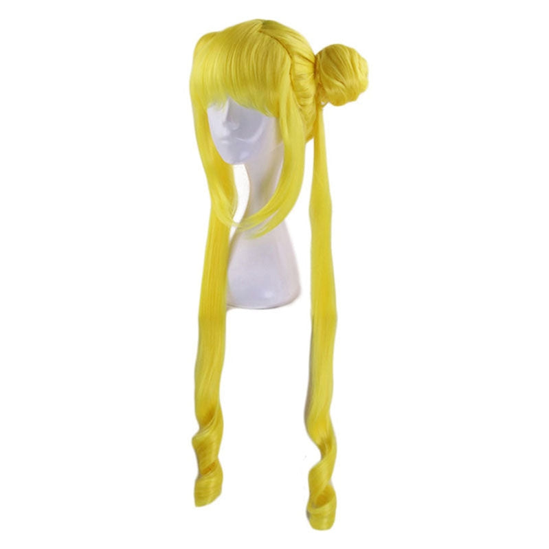 Anime Sailor Moon Tsukino Usagi Long Straight Double Braids Lemon Yellow Blonde Cosplay Wigs - Cosplay Clans