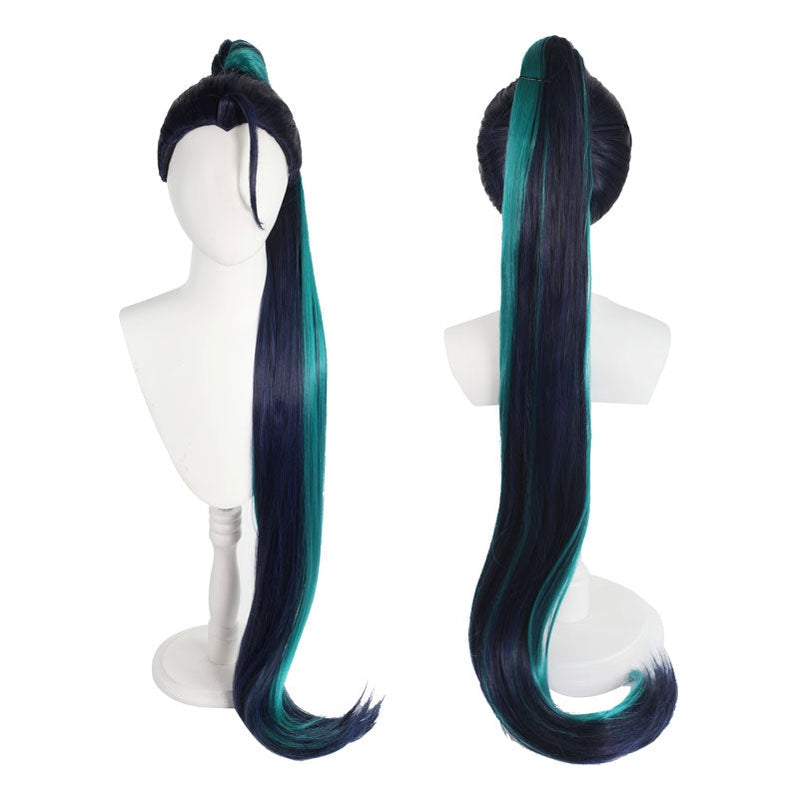 LOL KDA The Baddest Kaisa 100cm Long Blue Green Cosplay Wigs - Cosplay Clans