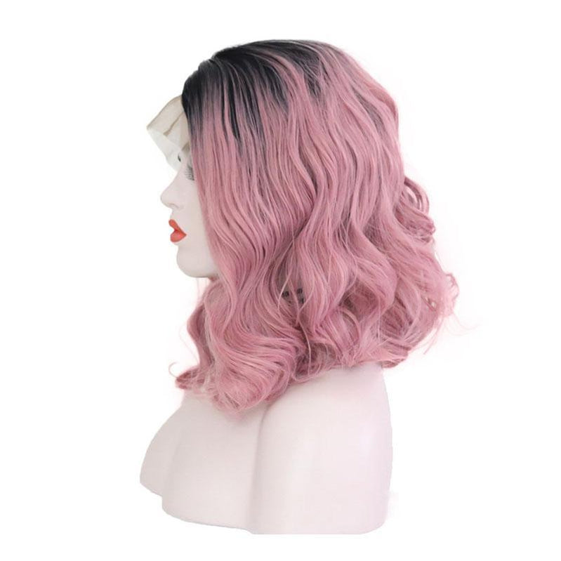 Multi-size Women Lace Front Wigs Short Curly Black Fade Pink Cosplay Wigs - Cosplay Clans