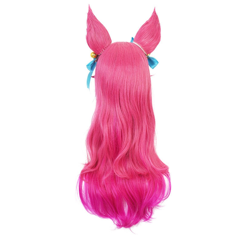 Game LOL Spirit Blossom Skin Ahri 80cm Long Red Gradient Purple Wavy Cosplay Wigs with Headwear - Cosplay Clans