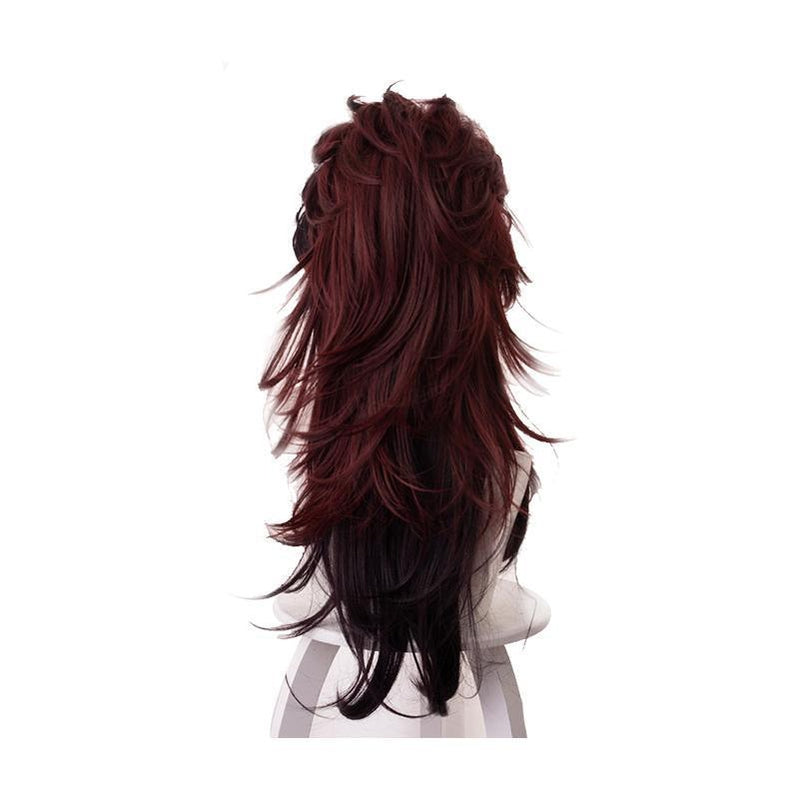 Anime Demon Slayer Kimetsu no Yaiba Tanjirou Kamado Red Mix Black Long Ponytail Cosplay Wigs - Cosplay Clans