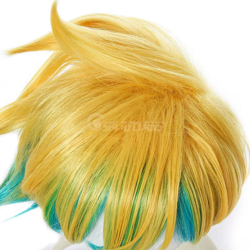 LOL Star Guardian Ezreal Yellow Mixed Blue Men 30cm Short Cosplay Wigs Synthetic Hair - Cosplay Clans