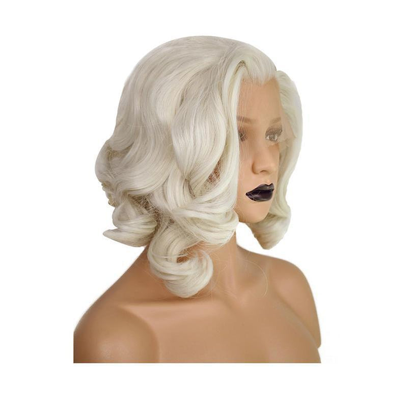 40cm Women Lace Front Wigs Short Curly White Cosplay Wigs - Cosplay Clans