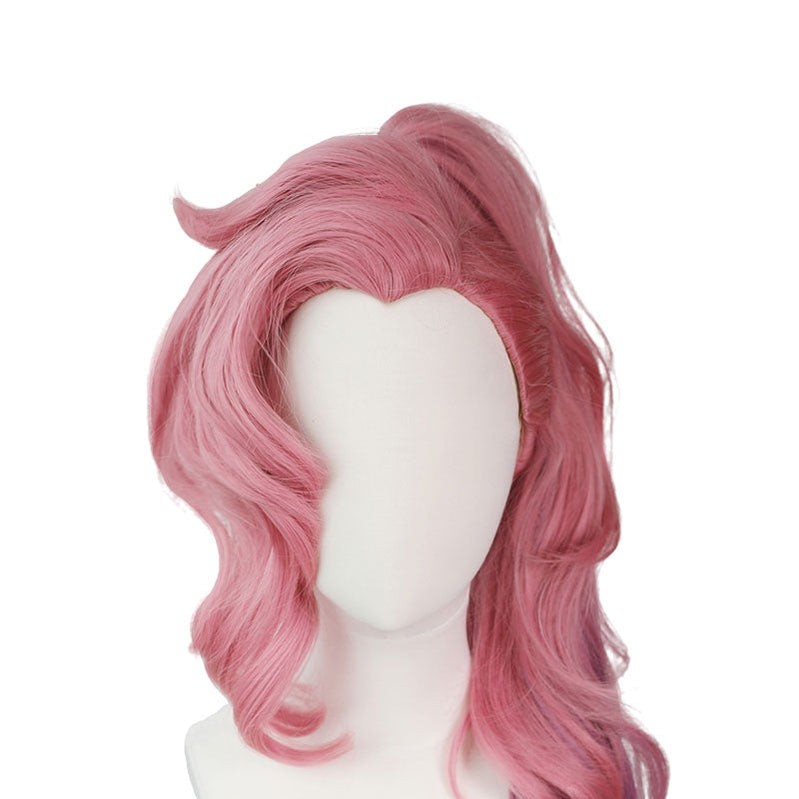 LOL Seraphine Cosplay Wig 100cm Long Ponytail Pink Gradient Purple Wavy Wigs - Cosplay Clans