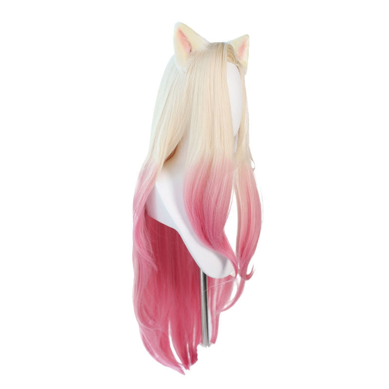 Game LOL KDA The Baddest Ahri 100cm Long Beige Gradient Pink Cosplay Wigs - Cosplay Clans