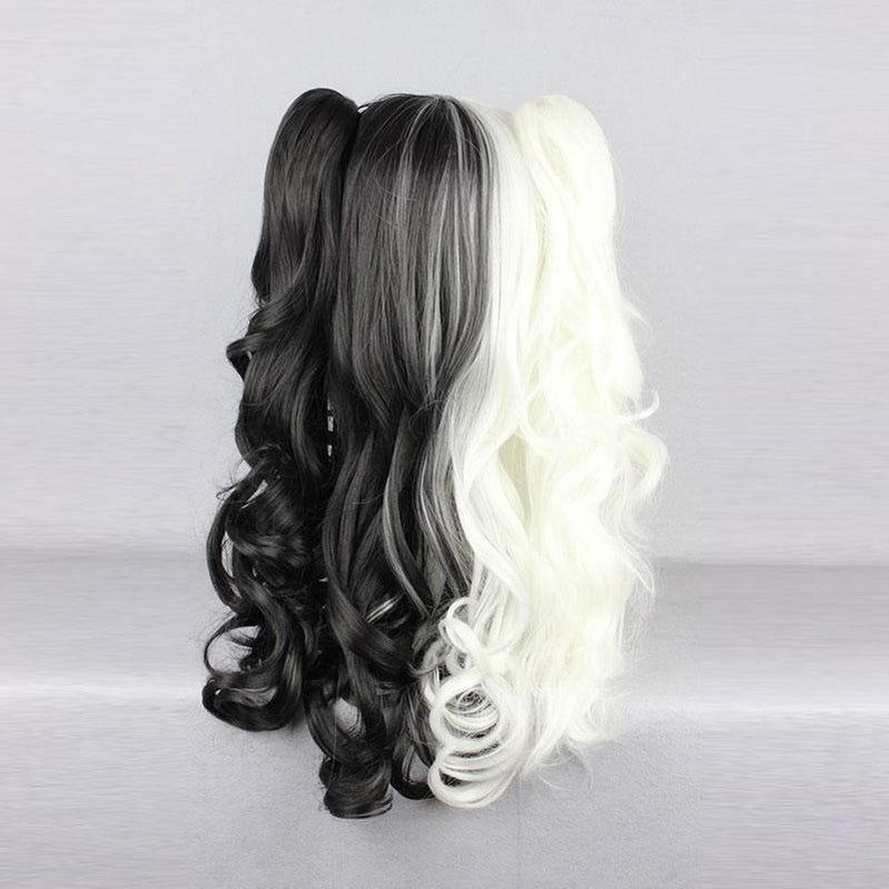 Anime Danganronpa: Trigger Happy Havoc Monokuma Black and White Bear Double Ponytail Long Curly Cosplay Wigs - Cosplay Clans
