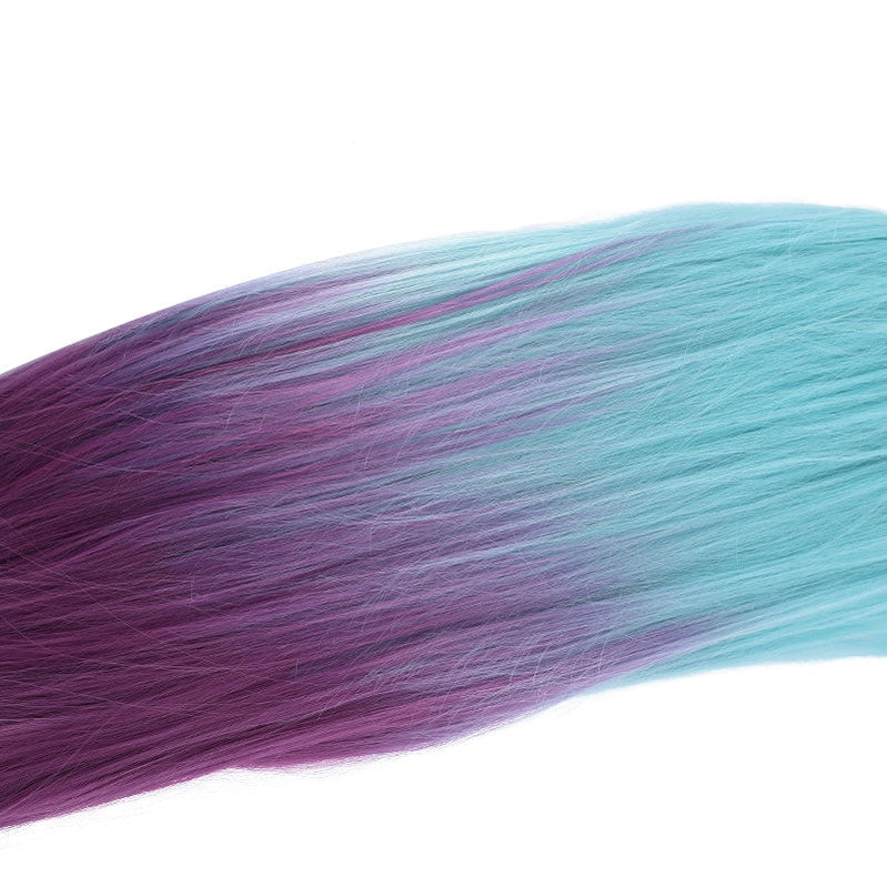 Game LOL KDA All Out Seraphine 100cm Long Green Gradient Purple Ponytail Cosplay Wigs - Cosplay Clans
