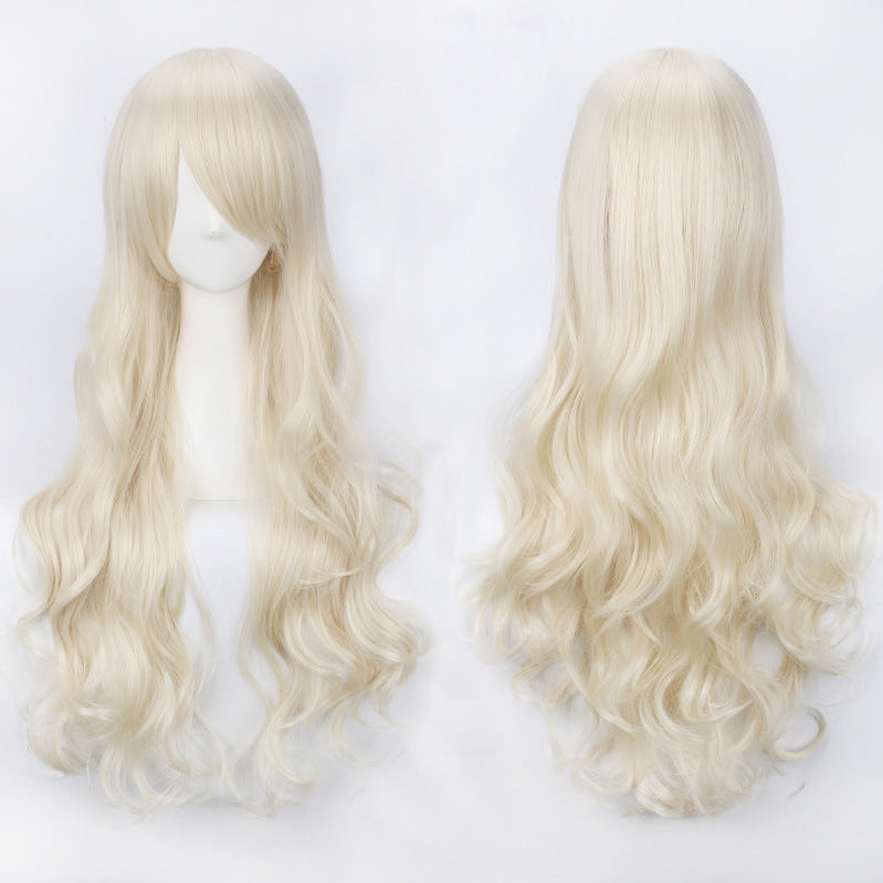 Women Wavy Sweet 80cm Long Yellow Blonde Orange Lolita Fashion Wigs with Bangs - Cosplay Clans