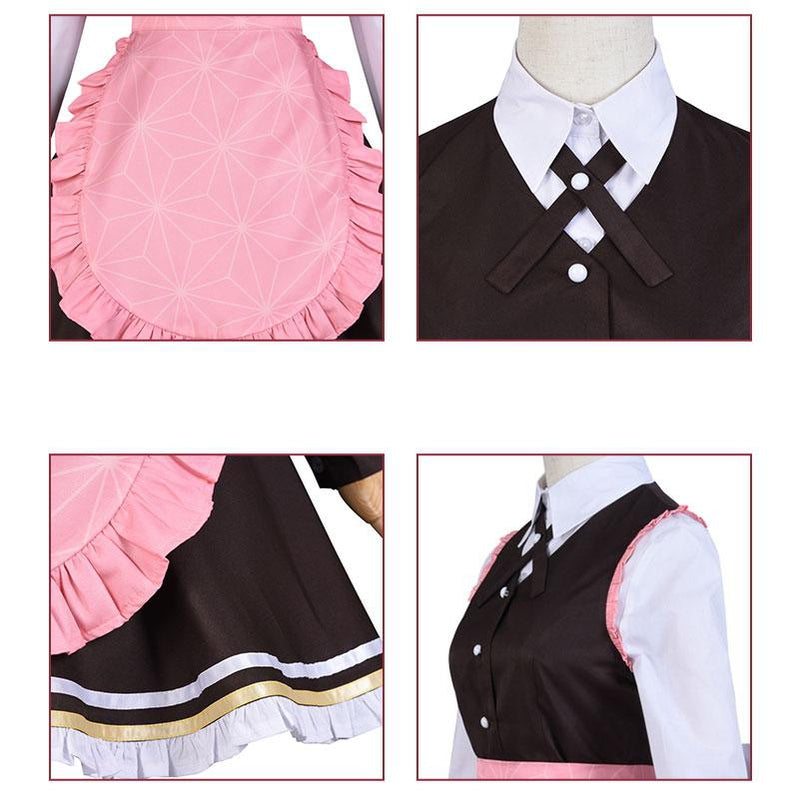 Anime Demon Slayer Kimetsu no Yaiba Nezuko Kamado Maid Outfit Cosplay Costumes - Cosplay Clans