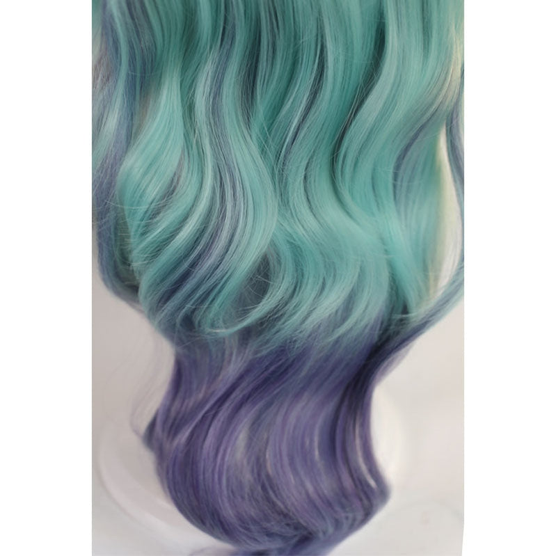Game LOL KDA All Out Seraphine 100cm Long Green Gradient Purple Wavy Cosplay Wigs - Cosplay Clans