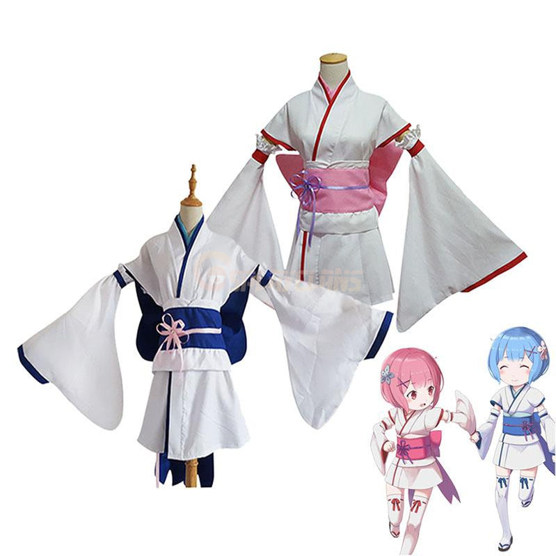 Anime Re:Zero Starting Life in Another World Childhood Rem and Ram Kimono Cosplay Costume - Cosplay Clans