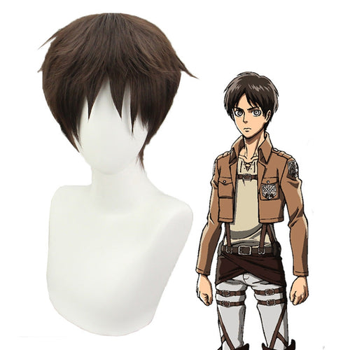 Anime Attack on Titan Eren Jaeger Short Brown Cosplay Wigs - Cosplay Clans