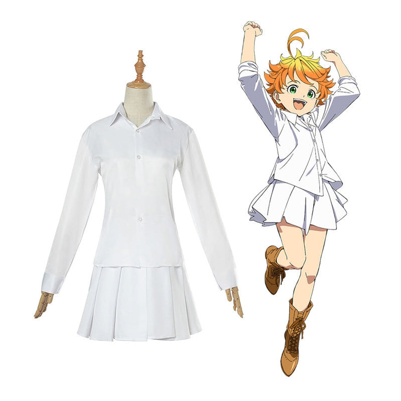 Anime The Promised Neverland Emma White Shirt Skirt Suit Cosplay Costume With Free Tattoo Sticker - Cosplay Clans