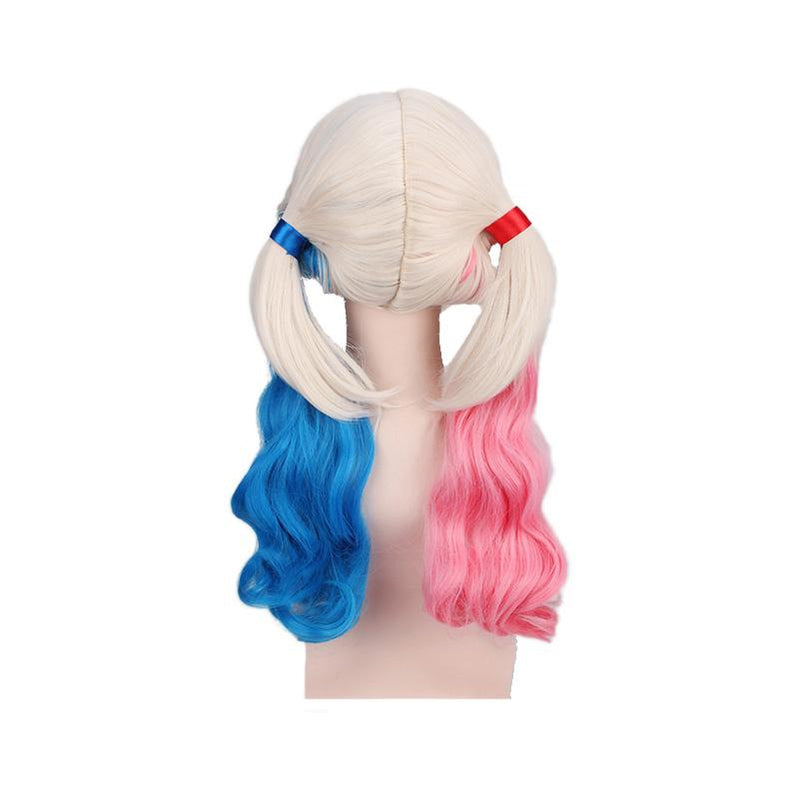 Movie Suicide Squad Harley Quinn Long Pink and Blue Cosplay Wigs - Cosplay Clans