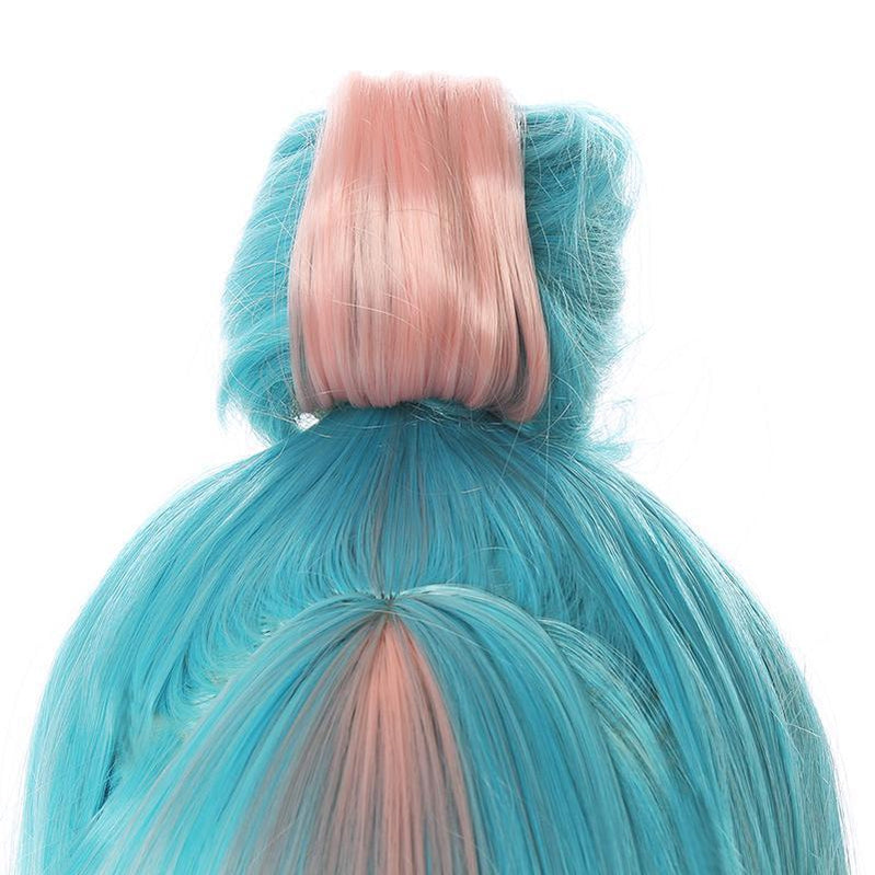 LOL True Damage Qiyana Pink Mixed Blue Cosplay Wigs - Cosplay Clans