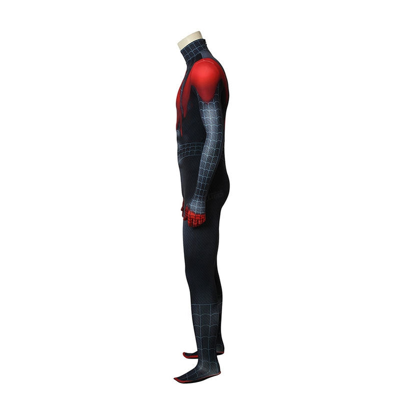 Movie Spider-Man: Into the Spider-Verse  Miles Morales Spiderman Elastic Force Jumpsuit Cosplay Costume with Free Headgear - Cosplay Clans