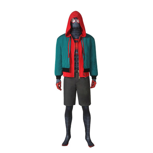 Movie Spider-Man: Into the Spider-Verse Miles Morales Spiderman Elastic Force Cosplay Costume Jumpsuit with Free Headgear, Coat, Pants and Belt - Cosplay Clans