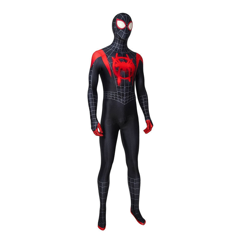 Movie Spider-Man: Into the Spider-Verse Miles Morales Spiderman Elastic Force Cosplay Costume Jumpsuit with Free Headgear - Cosplay Clans
