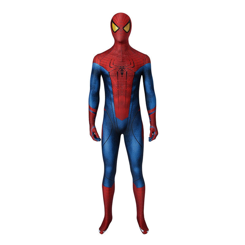 Movie Spider-Man: The Amazing Spider-Man Peter Parker Spiderman Elastic Force Cosplay Costume Jumpsuit with Headgear - Cosplay Clans