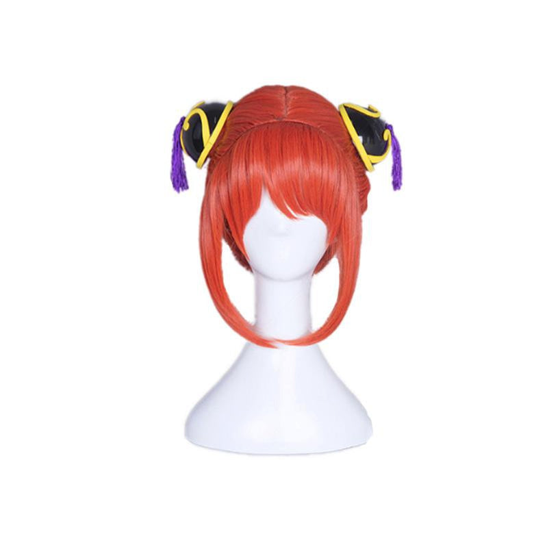 Anime Gintama Kagura Short Orange Red Cosplay Wigs with Free Headdress - Cosplay Clans