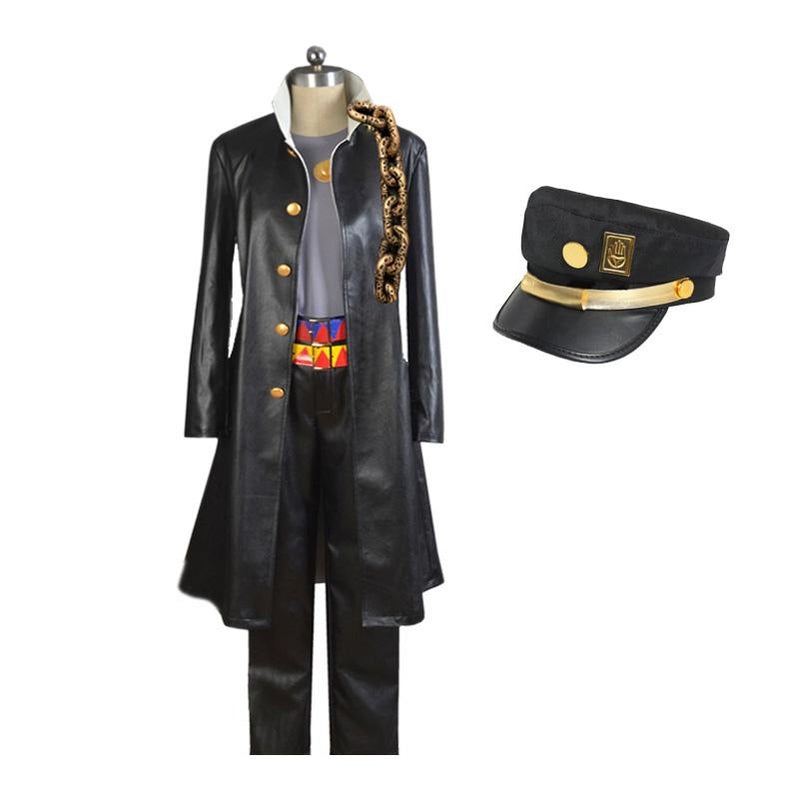 Anime JoJo's Bizarre Adventure Kujo Jotaro Cosplay Costume with Hat - Cosplay Clans