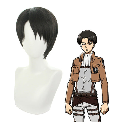 Anime Attack on Titan Levi Ackerman Short Black Cosplay Wigs - Cosplay Clans
