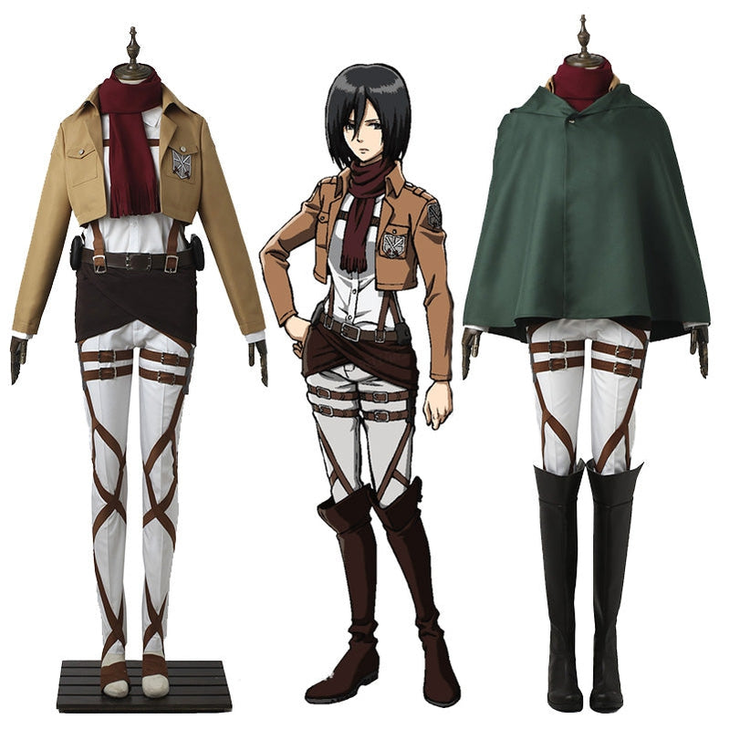 Anime Attack on Titan Mikasa Ackerman Ttraining Corps Uniform Set Cosplay Costume - Cosplay Clans