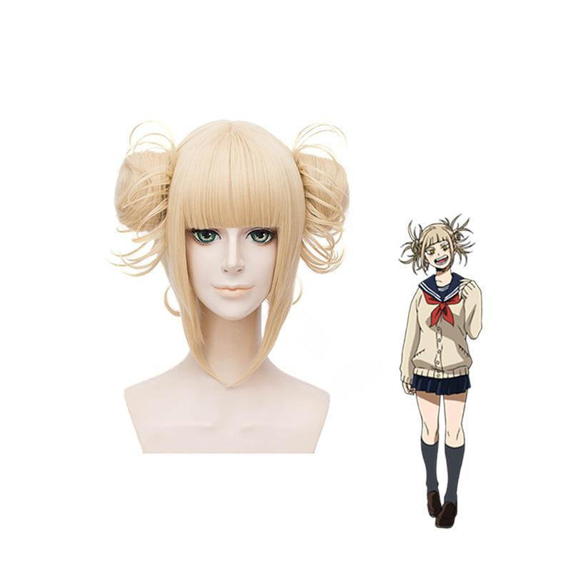 Anime My Hero Academia Himiko Toga Short Blonde Cosplay Wigs with Free Vampire Teeth - Cosplay Clans
