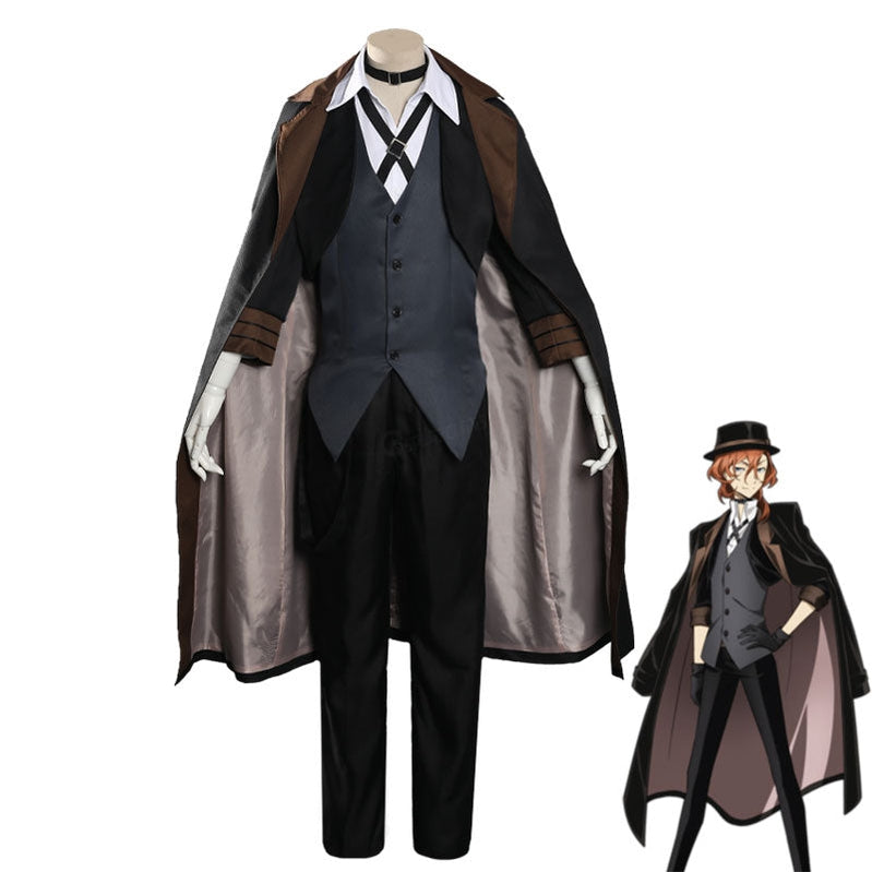 Anime Bungo Stray Dogs Chuya Nakahara BLack Cosplay Costume - Cosplay Clans