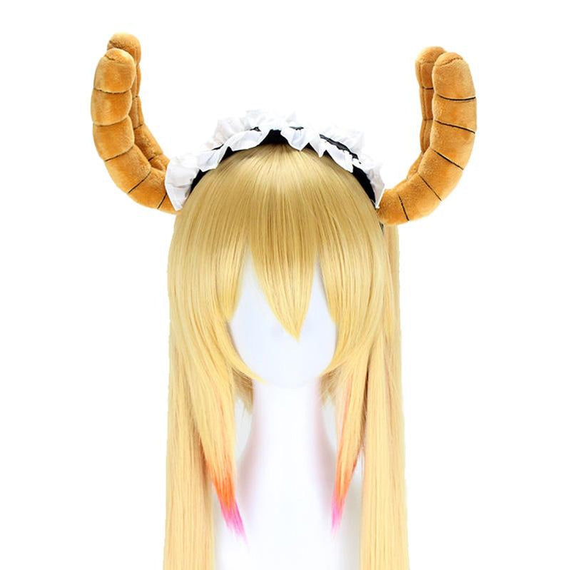 Anime Miss Kobayashi's Dragon Maid Tohru Long Mixed Blonde Cosplay Wigs with Free Dragon Horn Headdress - Cosplay Clans