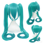 Anime VOCALOID Hatsune Miku 120cm Long Straight Double Ponytail Multicolor Bangs Cosplay Wigs - Cosplay Clans