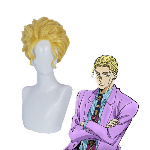 Anime JoJo's Bizarre Adventure Diamond is Unbreakable Yoshikage Kira Short Blond Cosplay Wigs - Cosplay Clans