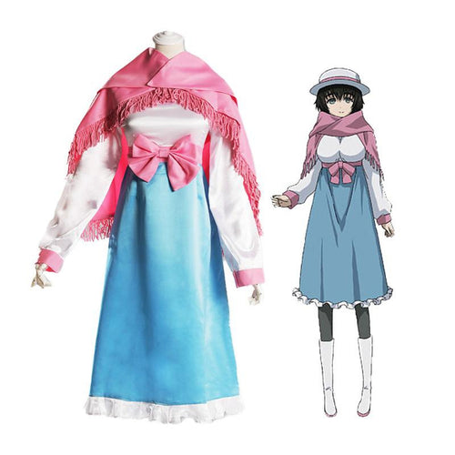 Anime Steins Gate 0 Shiina Mayuri White and Blue Dress Cosplay Costume with Scarf - Cosplay Clans