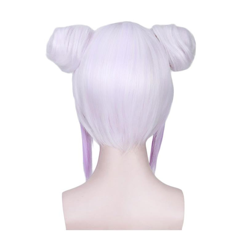 Anime Miss Kobayashi's Dragon Maid Kanna Kamui Short White Mixed Purple Cosplay Wigs - Cosplay Clans
