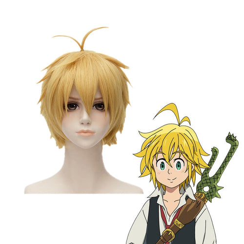 Anime The Seven Deadly Sins Meliodas Short Blond Cosplay Wigs - Cosplay Clans