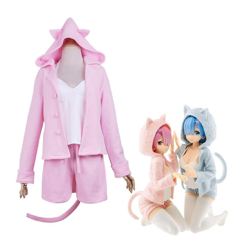 Anime Re:Zero Starting Life in Another World Rem and Ram Cat Pajamas Cosplay Costume - Cosplay Clans