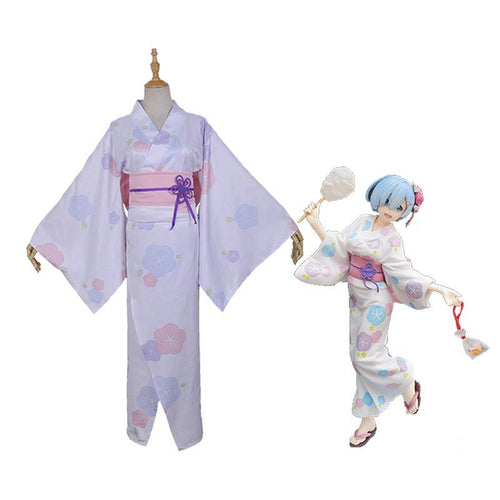 Anime Re:Zero Starting Life in Another World Rem Summer Kimono Cosplay Costume - Cosplay Clans