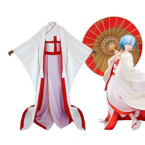 Anime Re:Zero Starting Life in Another World Rem Japanese Wedding Dress Cosplay Costume - Cosplay Clans