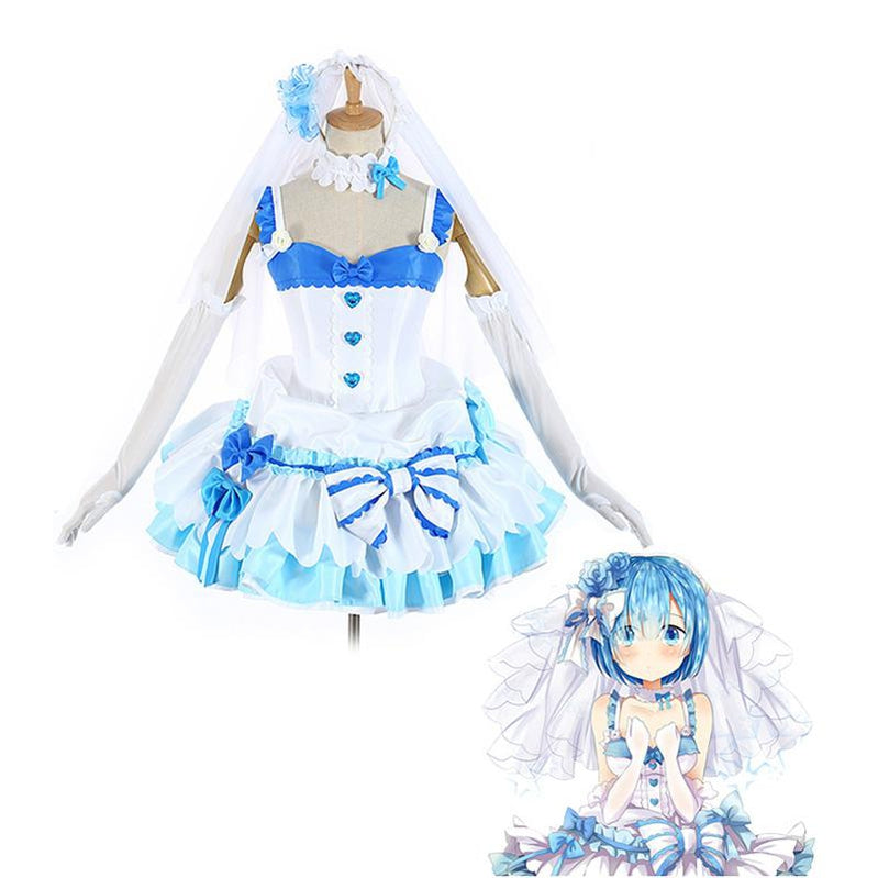 Anime Re:Zero Starting Life in Another World Rem and Ram Wedding Dress Cosplay Costume - Cosplay Clans