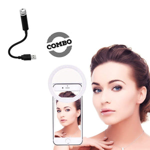 Combo Of Rechargeable Selfie Ring Light + Laser Sky Mood Light Decoration Ambience USB Projector
