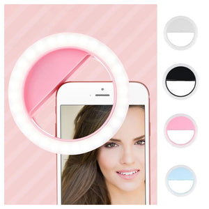 Combo Of High Quality Rechargeable Selfie Ring Light + Creative Cute Mini Compact Folding Umbrella