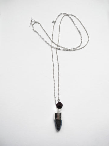 rose pom pom talisman necklace